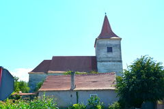 Medieval fortified church in Avrig, Sibiu, Transylvania. Avrig fortified Evangelical Church is a collection of historical monuments located in the city Avrig Stock Photos