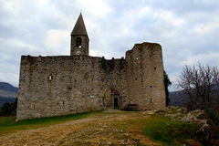 Medieval fortified church. Medieval church surrounded by a walls Stock Photography