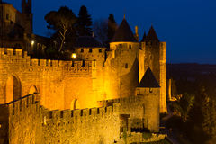 Medieval fortified city in evening time. Carcassonne royalty free stock image