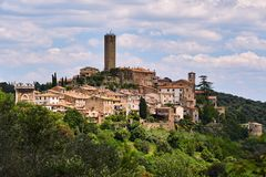 Medieval fortified gate and towers in city of Pereta. In Tuscany, Italy stock image
