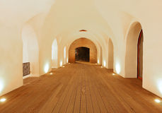 Medieval fortres interior. Medieval fortress interior with lighting spots stock photo