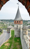 Medieval fortress above the Ukrainian town Kamianets-Podilskyi Stock Photography