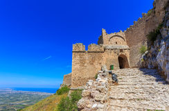 Medieval fortress of Acrocorinth up on the hill Royalty Free Stock Photography