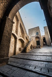 Medieval fortress. Arch and climb stairs. Italian historic architecture. Royalty Free Stock Image