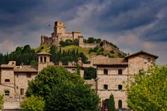 Medieval fortress in Assisi Rocca Maggiore on top of the hill royalty free stock image