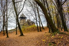Medieval fortress in autumn leafless forest. Nevytsky castle is popular tourist destination of TransCarpathia, Ukraine Stock Photography