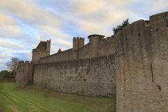 Medieval fortress in Carcassonne. The Citadel in Carcassonne, a medieval fortress in the french department of Aude Stock Photography
