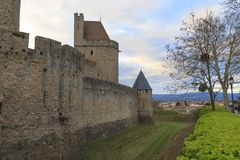 Medieval fortress in Carcassonne. The Citadel in Carcassonne, a medieval fortress in the french department of Aude Royalty Free Stock Photo