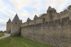 Medieval fortress in Carcassonne. The Citadel in Carcassonne, a medieval fortress in the french department of Aude Stock Images