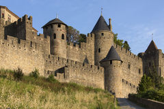Medieval Fortress - Carcassonne - France. The medieval fortress and walled city of Carcassonne in the Languedoc-Roussillon region of south west France. Founded Stock Images