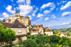Medieval fortress  Castelnaud, Royalty Free Stock Images