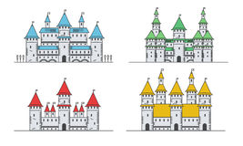 Medieval fortress or castles set. Flat style icons. Stock Photo