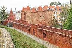 Medieval fortress in the center of Warsaw. Royalty Free Stock Photography