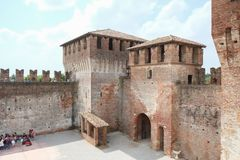 Medieval fortress courtyard in Soncino, Italy royalty free stock image