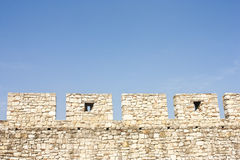 Medieval fortress crenels Royalty Free Stock Images