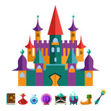 Medieval Fortress and Elements for Games. Vector Royalty Free Stock Photography