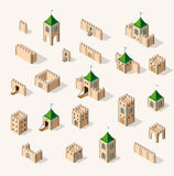 Medieval fortress fort. Isometric view vintage Stock Photography