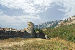 The medieval fortress Funa at the foot of the mountain South Demerdzhi. Crimea Royalty Free Stock Images
