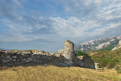 The medieval fortress Funa at the foot of the mountain South Demerdzhi. Crimea. Royalty Free Stock Image