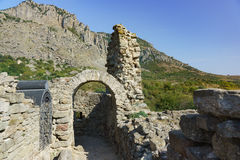 The medieval fortress Funa, located on a rocky hill at the foot of the mountain South Demerdzhi. Crimea. Stock Image
