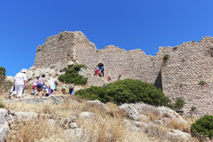 Medieval fortress in Greece. Medieval fortress in Greece on the island of Rhodes on the coast of the Mediterranean Sea royalty free stock image