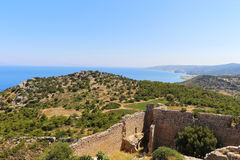 Medieval fortress in Greece. Medieval fortress in Greece on the island of Rhodes on the coast of the Mediterranean Sea royalty free stock photography