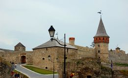 The medieval fortress in Kamenets Podolskiy, Ukrai Stock Photos