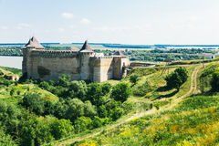 Medieval fortress in the Khotyn town West Ukraine. The castle is the seventh Wonder of Ukraine stock photography
