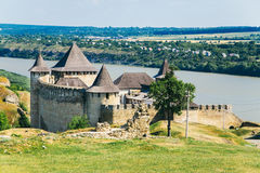 Medieval fortress in the Khotyn town West Ukraine. The castle is the seventh Wonder of Ukraine royalty free stock photos