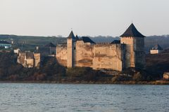 View to medieval fortress in the Khotyn town, West Ukraine. The castle is the seventh Wonder of Ukraine. Medieval fortress in the Khotyn town West Ukraine. The royalty free stock image