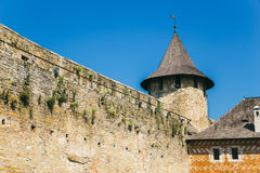 Medieval fortress in the Khotyn town West Ukraine. Part of the w. Part of the wall. Medieval fortress in the Khotyn town West Ukraine. The castle is the seventh royalty free stock image