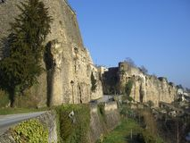 Medieval fortress Luxembourg. A view along the outer wall of a massive medieval fortress in Luxembourg Royalty Free Stock Photos