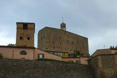 Medieval fortress in Montefipore Conca, Italy stock photo