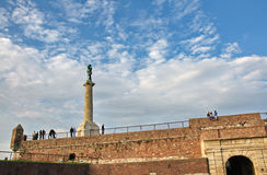 Medieval fortress and monument to Victor Royalty Free Stock Image