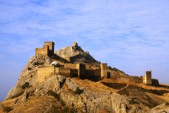 Medieval fortress on mountain in Crimea. The Genoa fortress - sight on peninsula Crimea. The south of Ukraine Royalty Free Stock Images