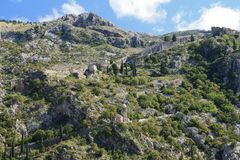 The medieval fortress in the mountains. Kotor, Montenegro Royalty Free Stock Photography