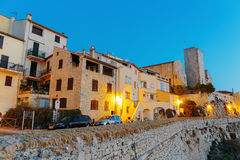 Medieval fortress at night, Antibes, France Stock Photos