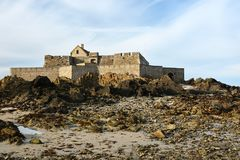 Medieval fortress in Saint-Malo. Fortress `Fort National` in Saint-Malo in Brittany, France Royalty Free Stock Photos