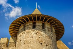 Medieval fortress in Soroca, Republic of Moldova. Partial view of medieval fort in Soroca, Republic of Moldova. Fort  built in 1499 by Moldavian Prince Stephen Royalty Free Stock Photos