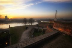 Medieval Fortress in Sunset, Belgrade, Serbia Stock Photos