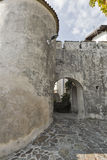 Medieval fortress tower and gate in Smartno village, Slovenia. Stock Photo