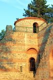 Medieval Fortress Tower. Old fortress tower and a part of ruined wall in Hisarlaka fortress in Kyustendil, Bulgaria Royalty Free Stock Photos
