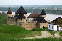 Medieval fortress with towers on the Dniester Rive Royalty Free Stock Image