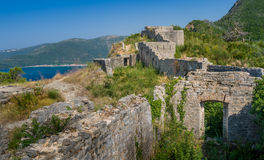 Medieval fortress Tvrdava Mogren ruins Stock Photos