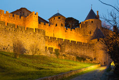 Medieval  fortress walls in evening.  Carcassonne Stock Images
