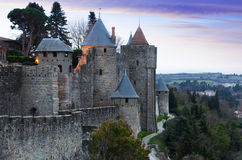 Medieval  fortress walls in evening time.  Carcassonne Royalty Free Stock Image