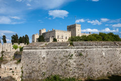 Medieval fortress walls of Rhodes, Greece Stock Images