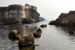 Medieval fortress water canal in Dubrovnik, Croatia. By the shores of the Mediterranean Sea Stock Images