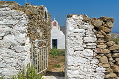 Medieval fortress and White church, Mykonos island, Greece Royalty Free Stock Photos