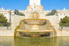 Medieval fountain in Madrid royalty free stock image
